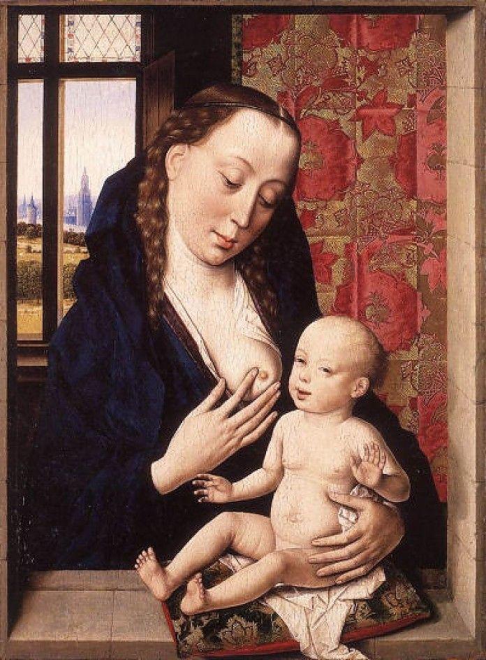 Dirk Bouts, De Maagd en het Kind, ca 1465, olieverf en ei-tempera op eiken paneel, 37.1 x 27.6 cm,  National Gallery, Londen