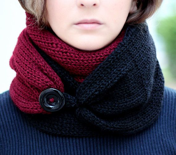 Knit Scarf  with button,  infinity scarf, circle scarf, loop scarf , knit infinity scarf , button scarf, open weave knit scarf