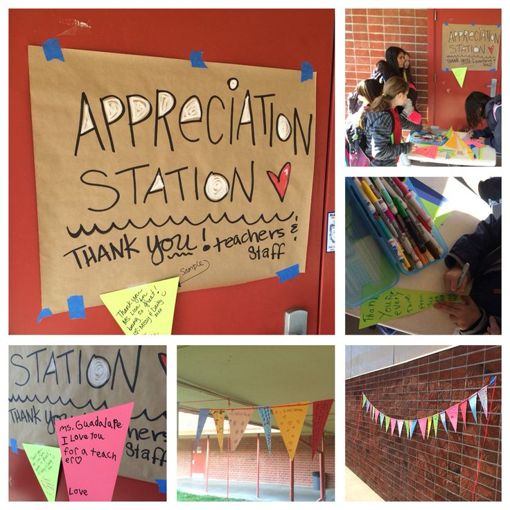 PTO Teacher appreciation station where students write a thank u note on a piece of a pennant banner that later decorates the office and halls