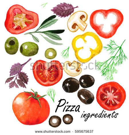 Watercolor vegetables set. Isolated drawings of the pizza ingredients: tomatoes, olives, spices, paprika, mushrooms,- on the white background.