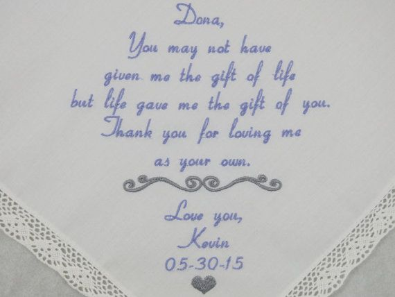 Wedding Gift For Dad And Stepmom: Step Mom Of The Groom Handkerchief Wedding Gift For Step