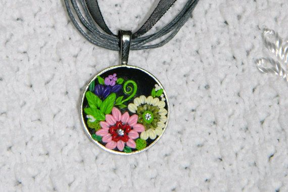 Pendent with flowers Polymer clay Pendant  Necklace by EVAMARE