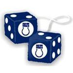 "Rearview Mirror Fuzzy Dice - NFL Football - Indianapolis Colts by Freemont Die. $8.99. * Officially licensed by the National Football League* Team logo on one side and white dots for numbers* Great for home, office, etc.* High quality plush* Product size: 3"" inches (each)Instantly customize your car, truck, van or SUV with this amazing brand new fuzzy car dice. Team logo on one side and white dots for numbers on the other five sides. Includes white cord for hanging"