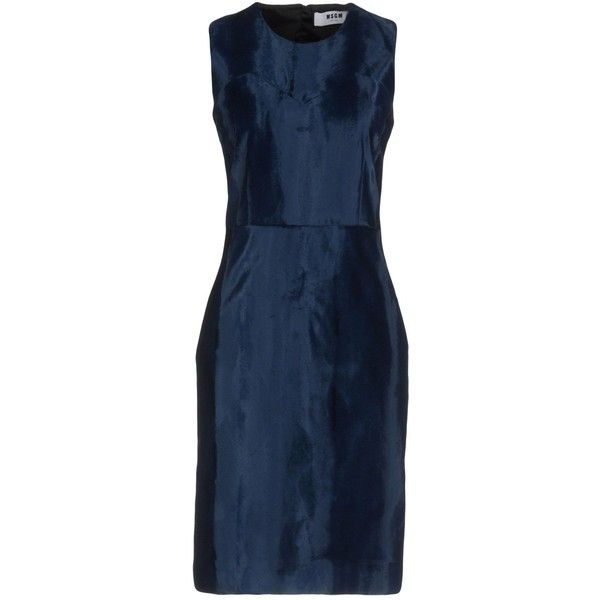 Msgm Knee-length Dress ($335) ❤ liked on Polyvore featuring dresses, dark blue, blue dress, blue velour dress, knee high dresses, trapeze dress and velour dress