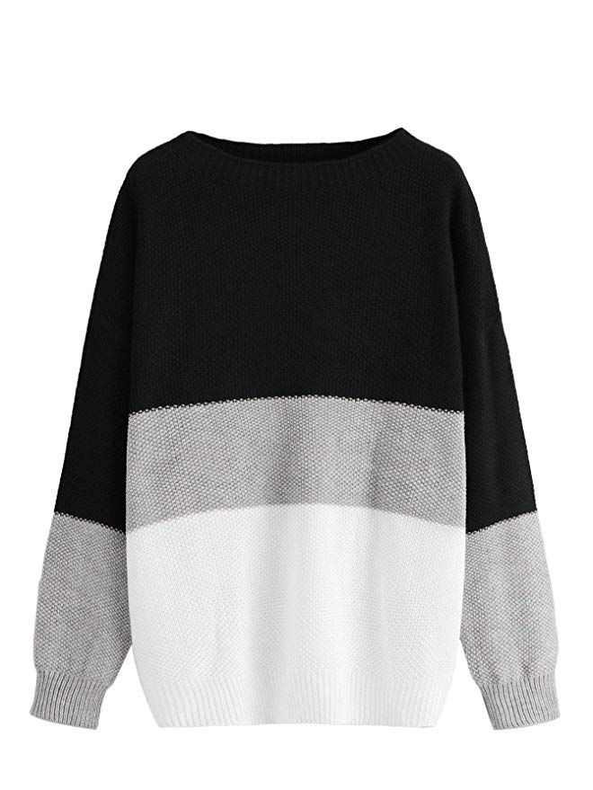 411e799acbe Milumia Women s Drop Shoulder Color Block Textured Jumper Casual Sweater at Amazon  Women s Clothing store