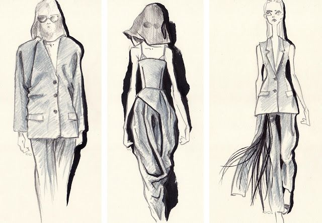 Fashion sketches by Elisa Gibaldi for Chalayan summer 2018 collection