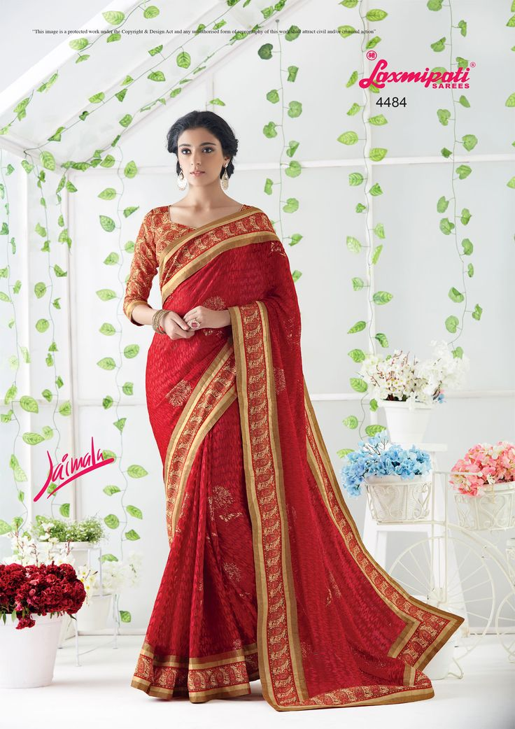 Wear this Red #Brasso_Saree from Laxmipati at an upcoming special occasion and let all eyes follow you. Get the attention you deserve! Limited Stock. Hurry! 100% genuine products guaranteed. #Catalogue #JAIMALA #Design Number: 4484 #Price - ₹2133.00.00