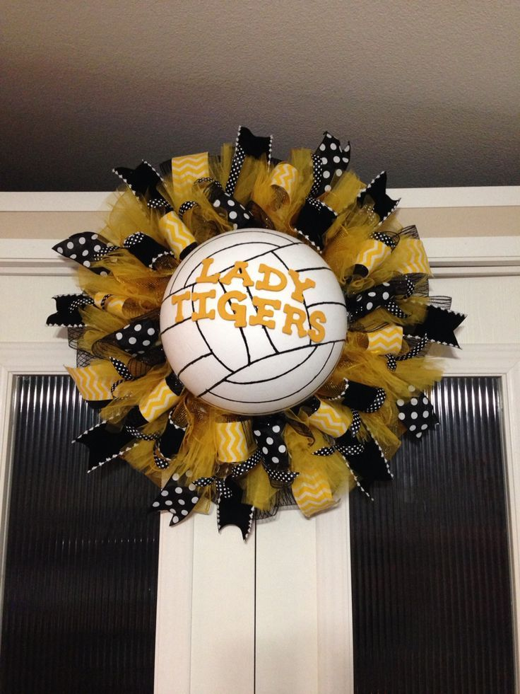 Mansfield tigers volleyball wreath created and designed by Ronda Cromeens  50$