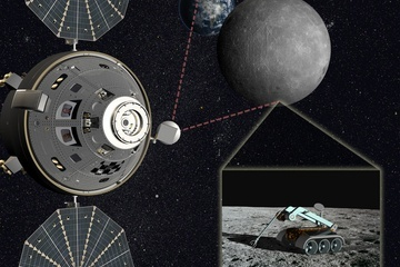 Orion Moon Farside - Artist's concept of astronauts in an Orion capsule helping direct robotic teleoperations on the moon's farside.  CREDIT: Lockheed Martin