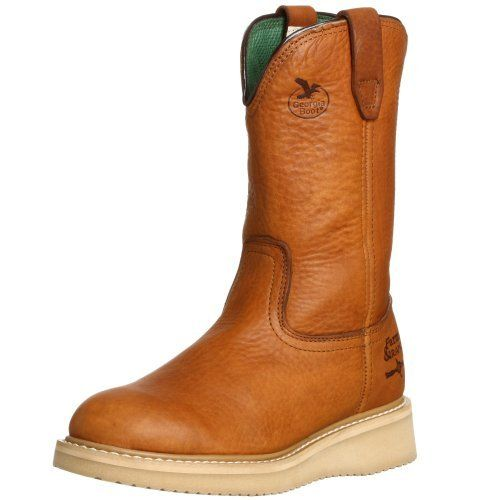 """Georgia Boot Men's 12"""" Wedge Wellington Work Boot Georgia Boot. $79.99. Rubber sole. Full grain barracuda gold leather molds to the foot. Shaft measures approximately 10"""" from arch. leather. Boot opening measures approximately 13"""" around"""