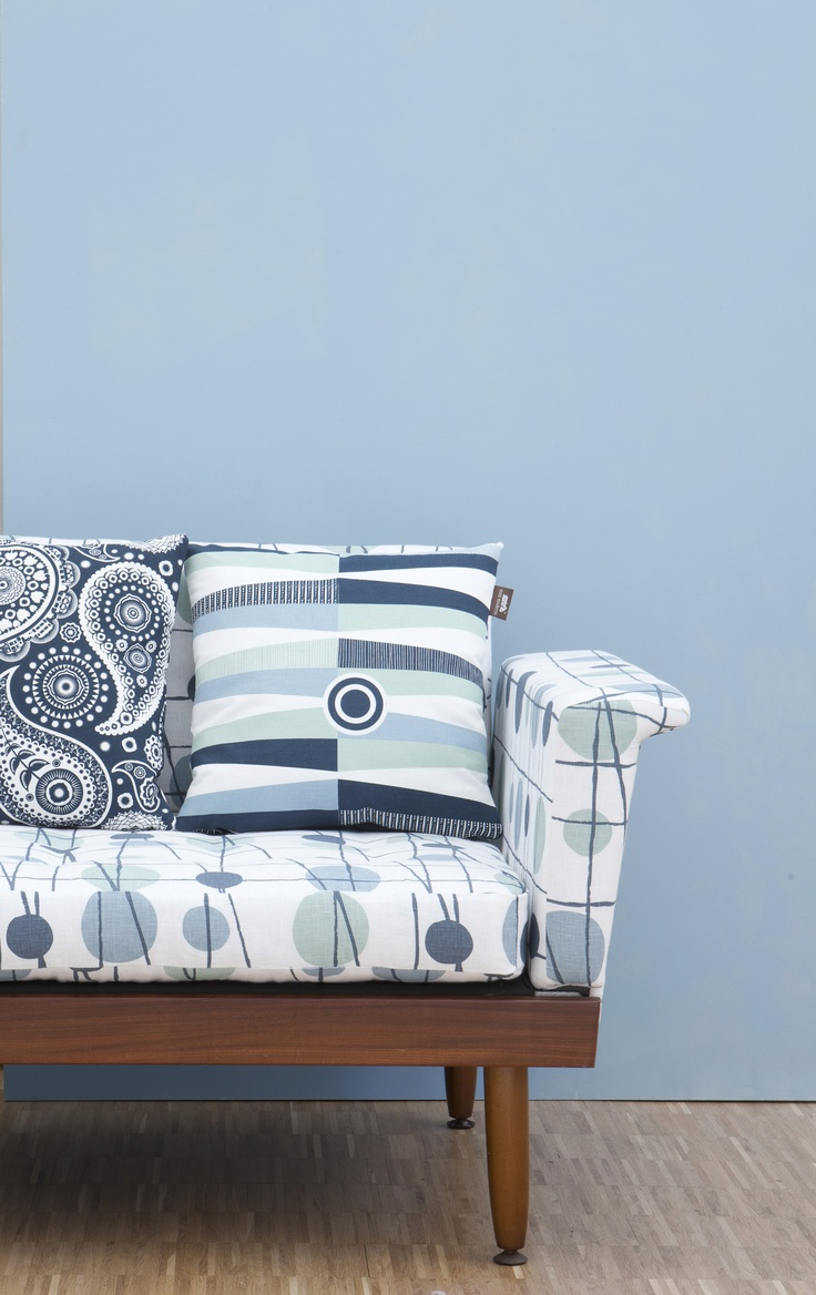 Mini Moderns Environmentally Responsible Paint: Chalkhill Blue  With our sofa covered in Pavilion fabric