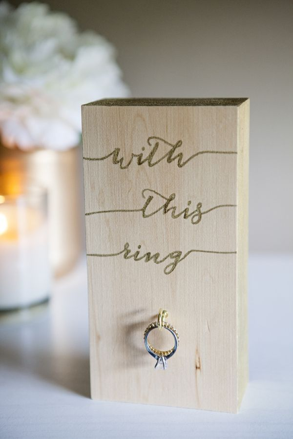 """DIY // How to make this adorable """"Wood Block Wedding Ring Holder"""" in under an hour!"""