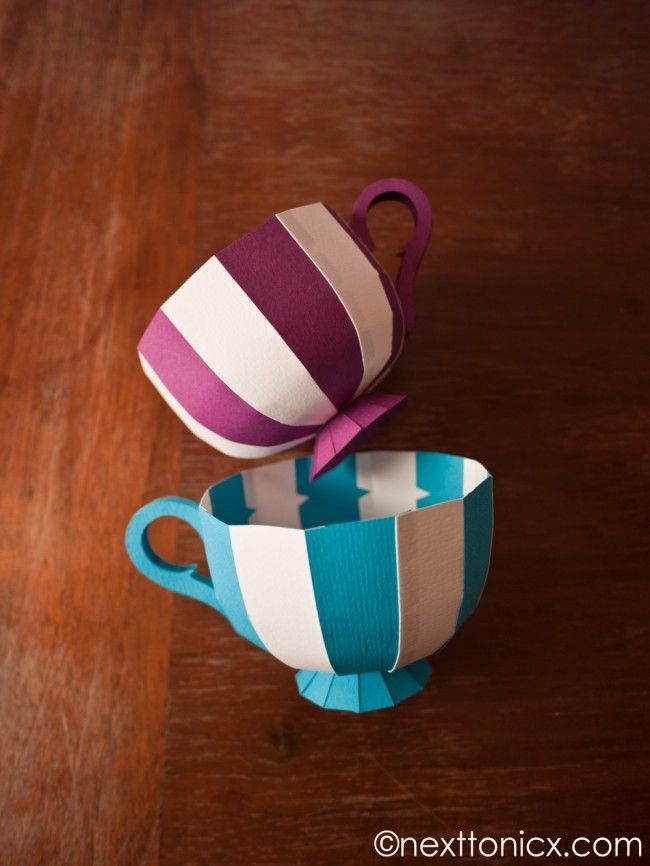 Paper Tea Cups: Free Template & instructions. Perfect for cupcakes, biscuits, little presents. They can be used as gift boxes or packaging. Paint them, embroider them, bedazzle them.