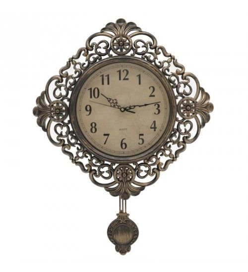 PL WALL CLOCK 'PENDULUM' ANTIQUE GOLDEN 38X5_5X38