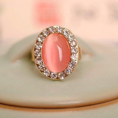 Just US$1.65, buy Faux Opal Rhinestone Decorated Oval Shape Ring online shopping at GearBest.com Mobile.