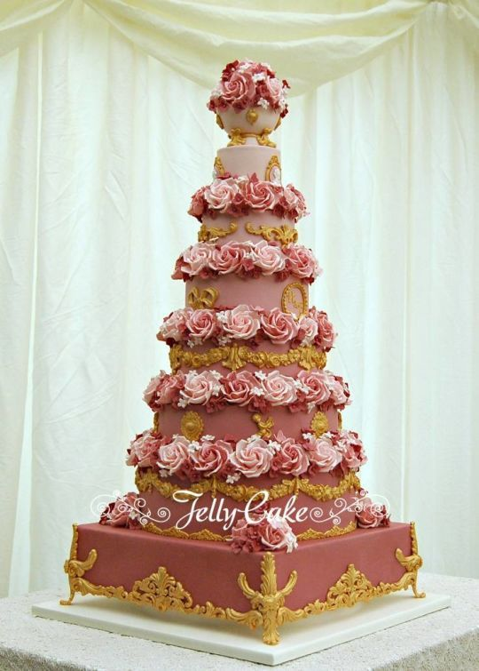 Pink and Gold 7 Tier Wedding Cake