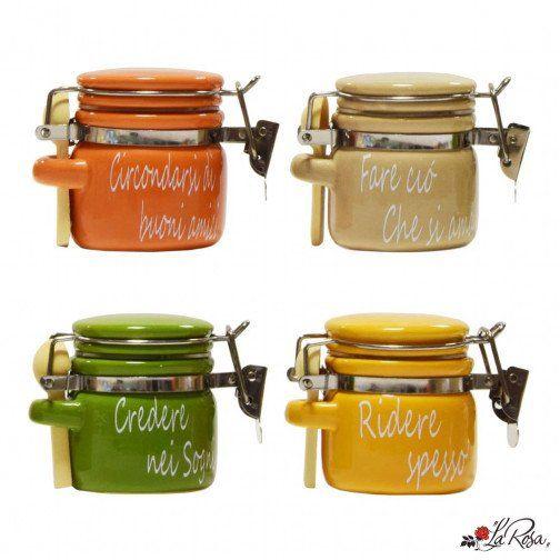 bomboniere utili barattolini con cucchiaini ermetici in porcellana con scritte