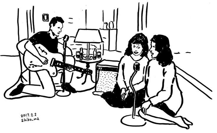 #ツインピークス ローラの従姉妹のマデリーンとドナジェームスでローラのためだと言って突然歌いだすシーンジェームスがマデリーンを見つめてドナが微妙な気持ちにジェームスはやたらモテる設定なんだけどちょっとしたことですぐに浮気をするわバイクに乗って失踪するわでちょっとなあと私は思います #morningdraw #akikomaegawa #illustration #monochrome #前川明子 #イラスト #線画 #白黒 #イラストレーション #twinpeaks #davidlynch #デヴィッドリンチ #朝活 #showtime #フェルトペン #ローラパーマー #lauraparmer #SherylLee #LaraFlynnBoyle #donna #james  #guitar #sing #singasong #ギター #歌
