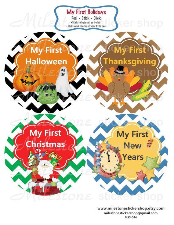 Baby Month Stickers Baby Holiday Stickers by MilestoneStickerShop
