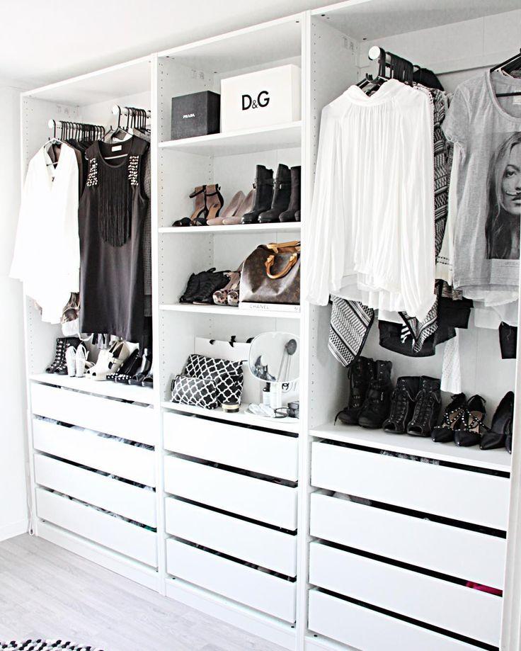 white contemporary open closet wardrobe || Instagram photo by @fregnate •