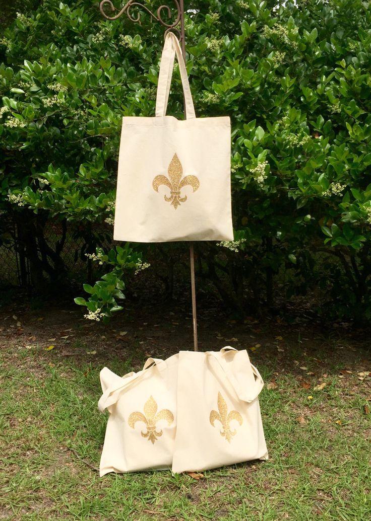 Monogrammed Tote Bag, Fleur De Lis, Monogrammed Bridesmaid Gifts, Glitter Monogram Bag, Monogrammed Bag by PoshPrincessBows1 on Etsy