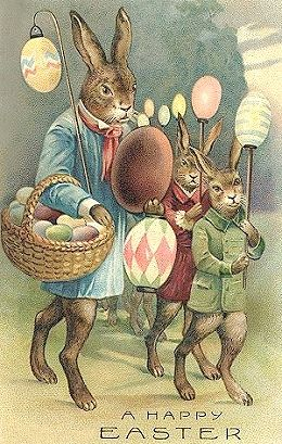 A Happy Easter (even the rabbits didn't smile back then...probably having to dress up ...) ;-). ki  SMILE its spring again!  Happy Easter!