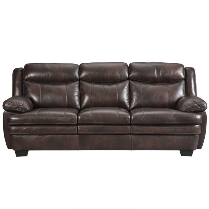 Ashley Hannalore Brown Leather Sofa | Weekends Only Furniture and Mattress