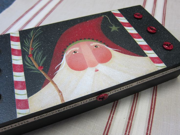 """""""Christmas Crafter's"""" Box...inside are little cubbies to hold necessary """"doo-dads""""! simple painting with a bit of sparkle...Cynthia Erekson design"""