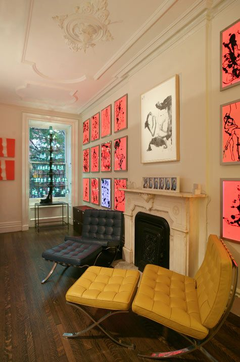 Great room in artists own home with his own lightbox artwork- Joel Fitzpatrick