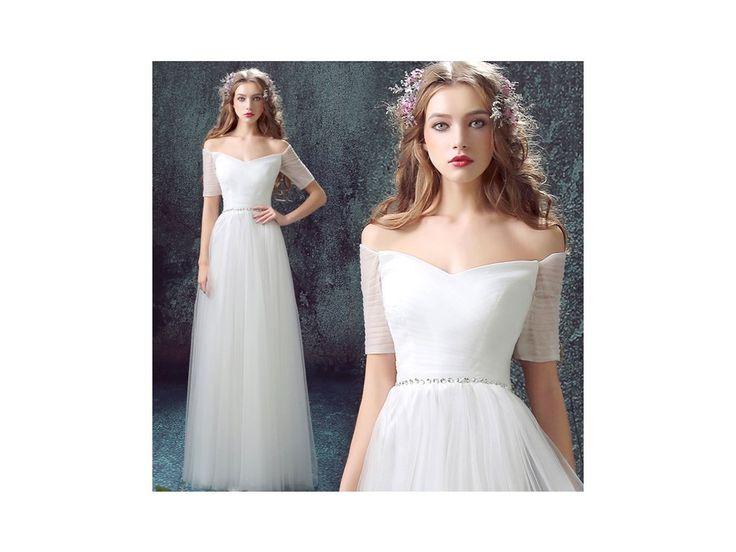 Bílé svatební šaty s decentním zdobením - Bestmoda