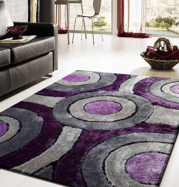 2-Piece Set | Shaggy Vibrant Gray & Purple Hand-tufted Area Rug with Rug Pad , 3-Piece-Set Bundle - Rug Addiction, Rug Addiction  - 1