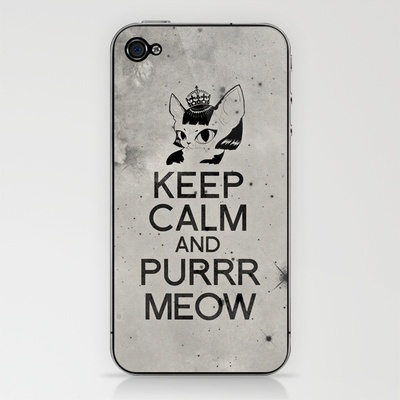 Sphynx Cat : Keep Calm and Purrr Meow iPhone & iPod Skin by The Gang of Fur - $15.00