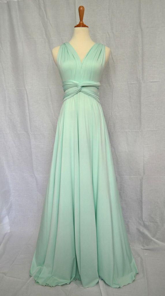 LilZoo Full Length Convertible Infinity MultiWay Wrap Dress in Pastel Mint Green with Free Bandeau Light Sage Meadow Sea foam Green