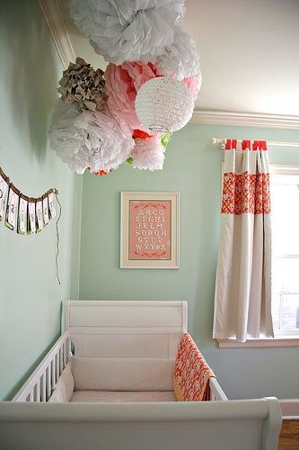 I love these poofed up decorations I keep seeing in baby room pins