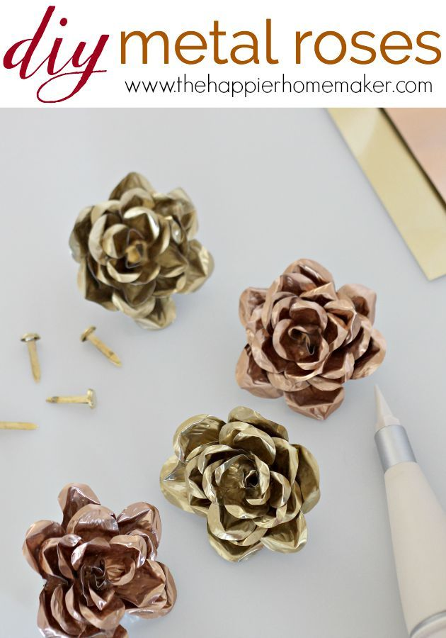 DIY Metal Roses- easy tutorial to make these cute metal flowers-such a cute embellishment for decor projects or wedding decorations!
