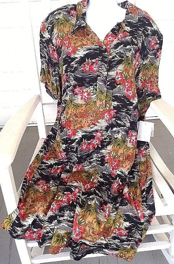 ELISABETH LIZ CLAIBORNE WOMENS  Hawaiin DRESS SZ 22 Multi Color New Plus #LizClaiborne #ShirtDress #Casual