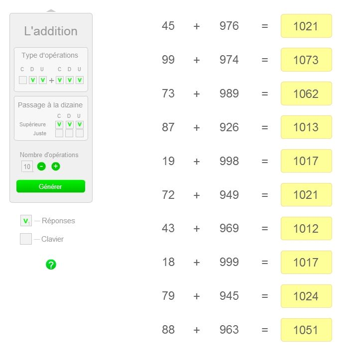 Deux applications pour générer en ligne des additions et des additions à trous et leurs corrections.
