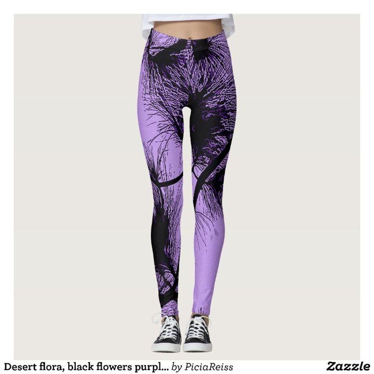 Desert flora, black flowers purple fabric pattern leggings