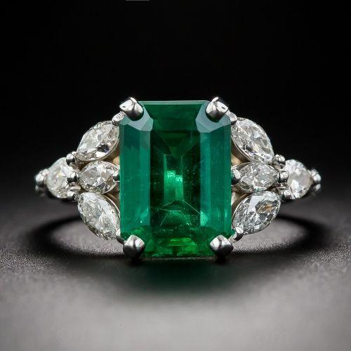 3.55 Carat Emerald and Diamond Estate Ring - GIA Cert.