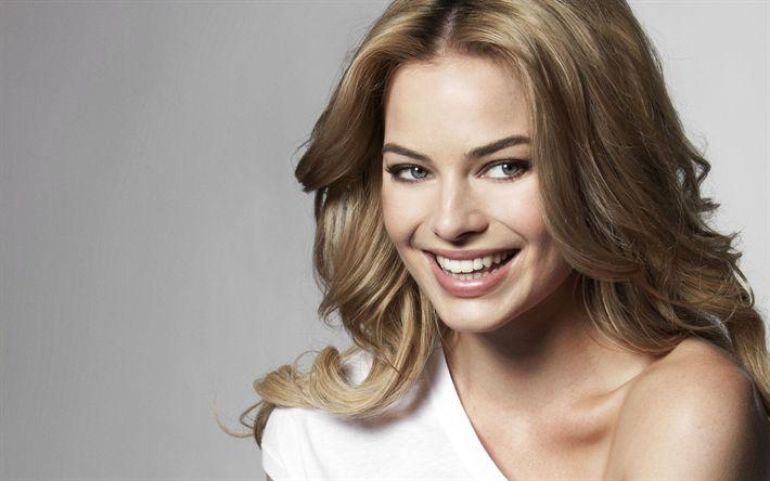 Download wallpapers Margot Robbie, 4k, smile, photoshoot, Hollywood, australian actress, blonde
