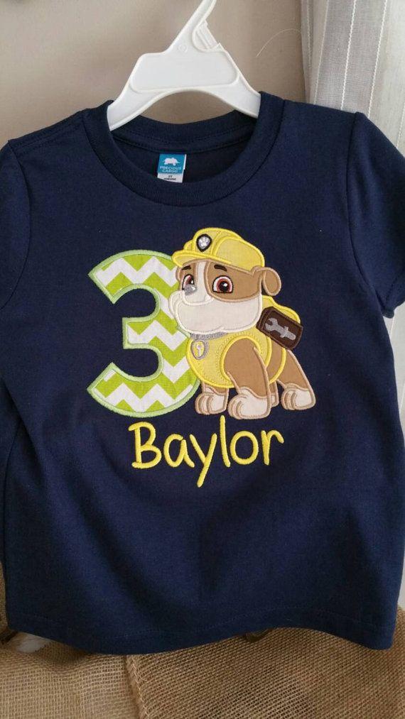 Paw Patrol Birthday Shirt, Rubble Paw Patrol, Birthday T Shirt, Rubble Construction