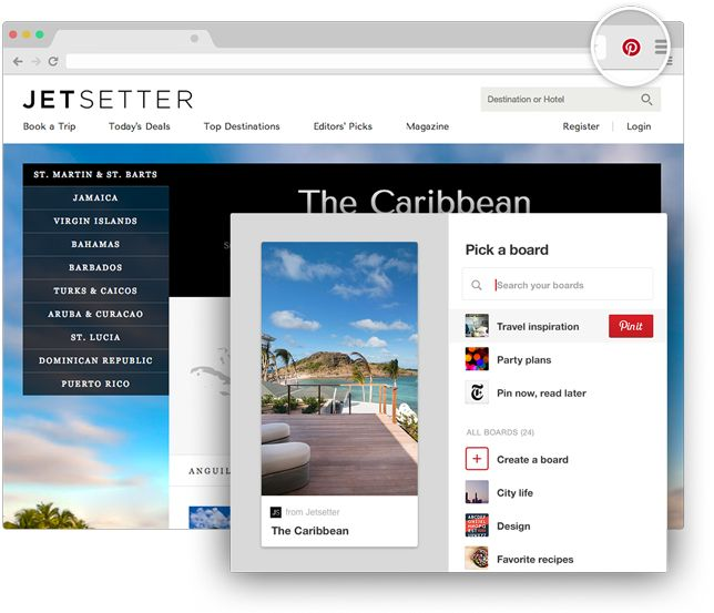 Botón de Pinterest de navegador para Chrome Guarda ideas creativas de la Web con…