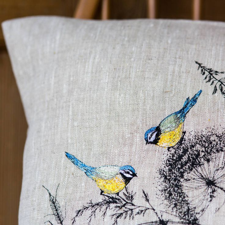 A hand screen printed cushion with added detailed embroidery. I can personalise this by adding an embroidered message, name or date, on the reverse of the cushion, for that perfect individual touch.