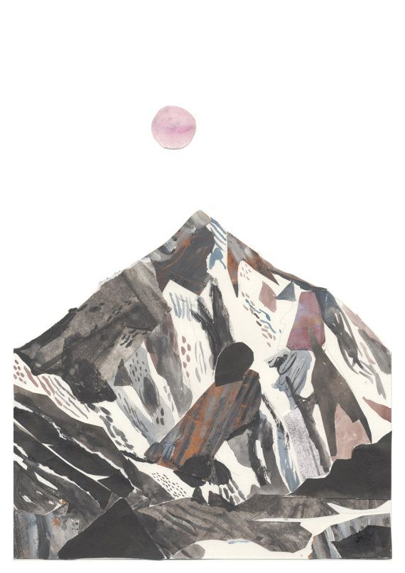 K2 mountain art illustration A3 Print 11.69 in x by Chris Hagan!