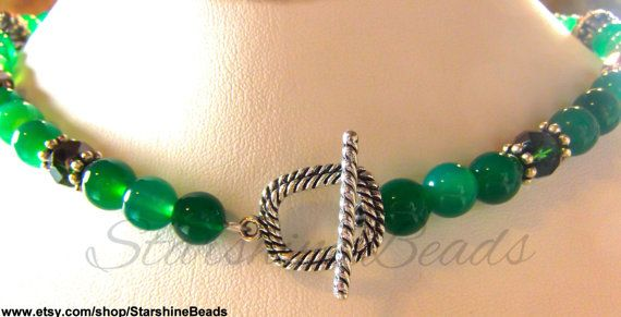Emerald & Green Onyx Necklace  Emerald Necklace Onyx
