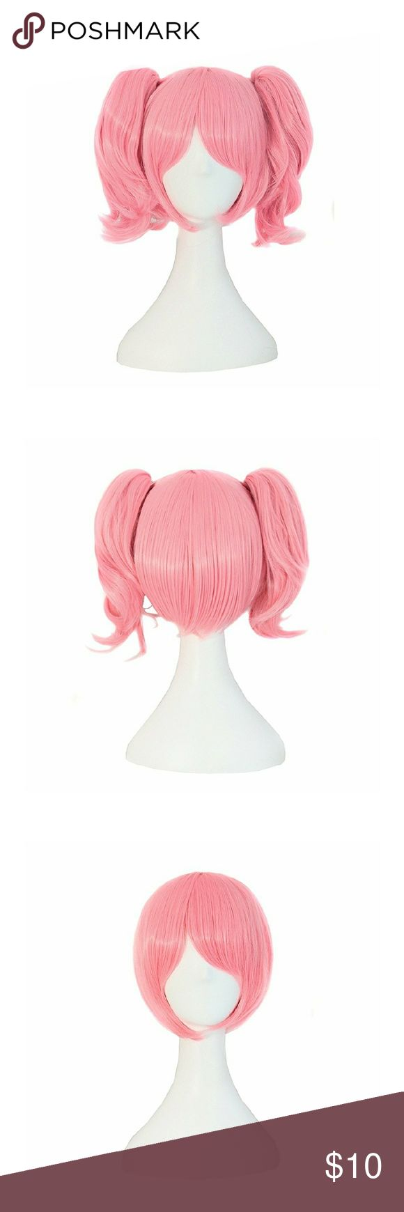 Pink Short Straight Clip on Ponytails Cosplay Wig Pink wig with removable clip on pig tails. Worn once for Chibi Moon costume 🌙. New like condition.  Material : 100% High Temperature Fiber Length: Approx 35cm/ 14 Inch Wig Cap Size: The maximum circumference Approx 20~21inch/51~53cm(Exist 1~2cm normal error),  Fits most child & adult (the size of wig cap is adjustable) Accessories Hair Accessories