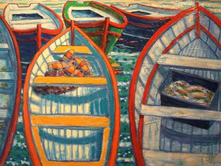 Barques au soleil acrylique sur toile 30 x 40po.  2013