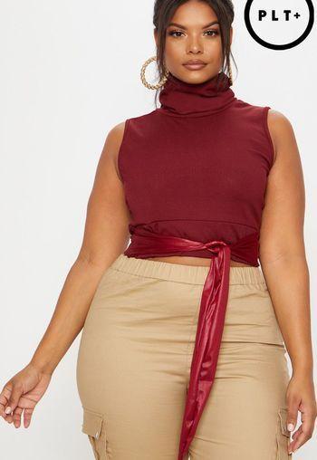 e1ba306f82c43 plus burgundy roll neck sleeveless ribbed crop top