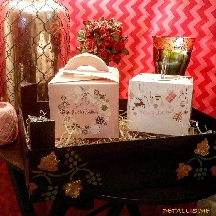 """Cajas en tonos rosas """"Merry Christmas"""" pedidos y catálogo; detallisime@yahoo.es"""