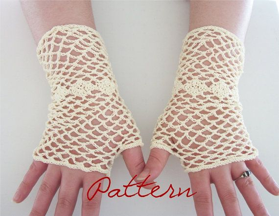 PDF Crochet Pattern Bridal Fishnet Fingerless Gloves by OneStitch, $5.50